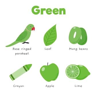 Groene kleur en woordenschat in het engels