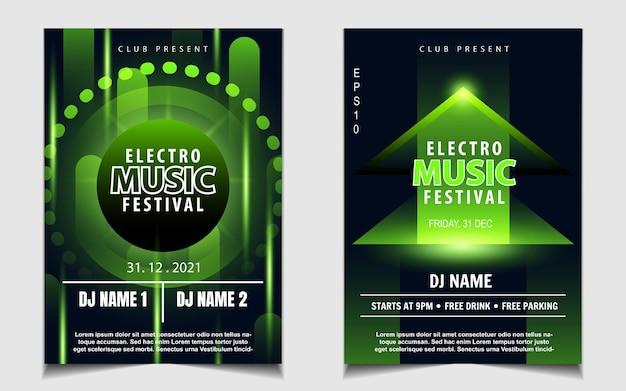 Groene kleur nachtdans feestmuziek flyer of posterontwerp