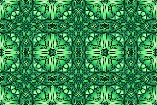 Groene kleurrijke kunst met abstract naadloos patroon