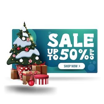 Groene kortingsbanner, met witte knop en kerstboom in een pot met geschenken Premium Vector