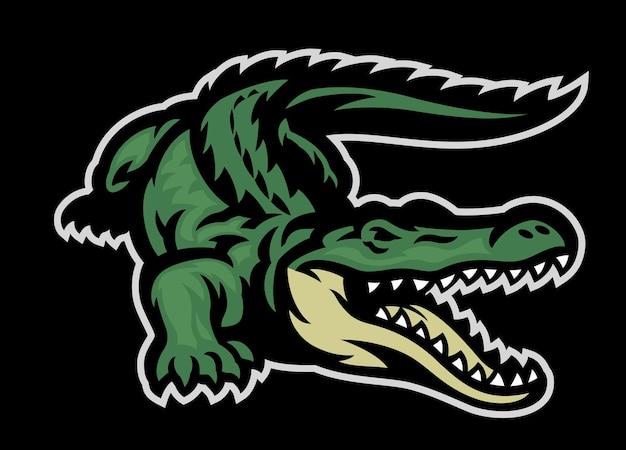 Groene krokodil brullende mascotte