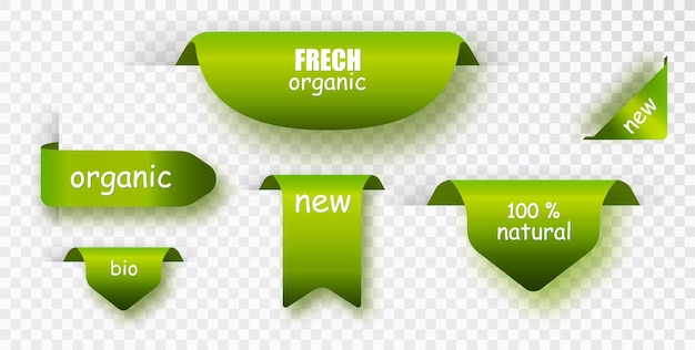Groene labels. natuurlijke label vector collectie. stel banners geïsoleerd.