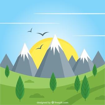 Groene landschap achtergrond met bergen