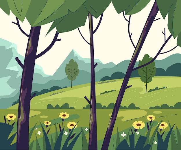 Groene lege boom veld berg bos natuur concept