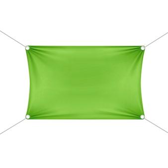 Groene lege lege horizontale rechthoekige banner met hoeken touwen.