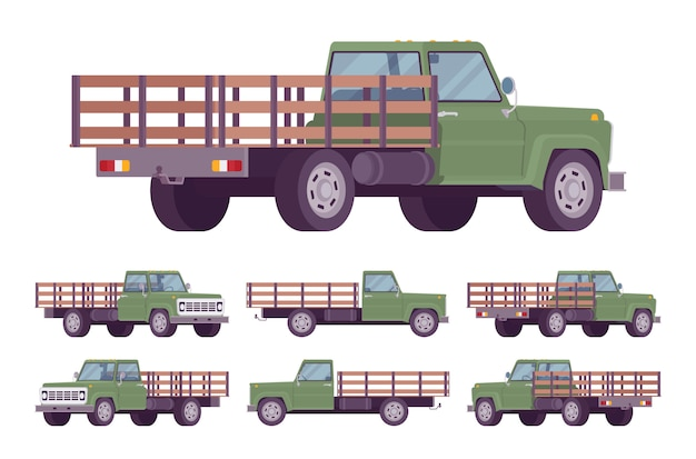 Groene lege vrachtwagen