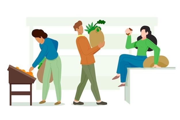 Groene levensstijl geïllustreerde mensen