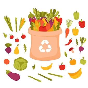 Groene levensstijl. papieren zak met groenten en fruit. veganistisch eten collectie.