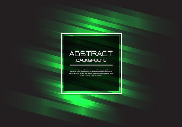 Groene lijn snelheid zwart vierkant frame achtergrond.