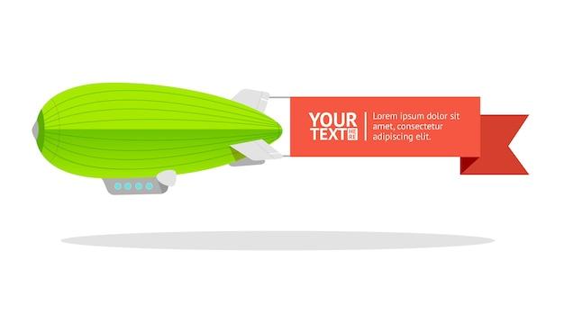 Groene luchtschipkaart voor uw tekst.