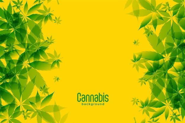 Groene marihuanabladeren op gele achtergrond