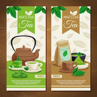 Groene matcha thee verticale banners