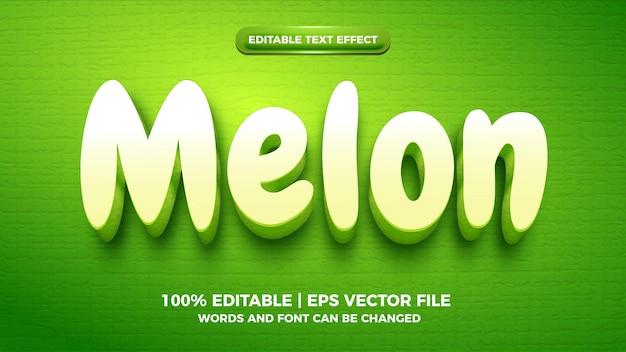 Groene meloen 3d cartoon bewerkbaar teksteffect
