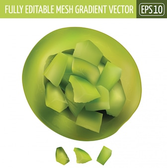 Groene meloen gesneden illustratie op wit