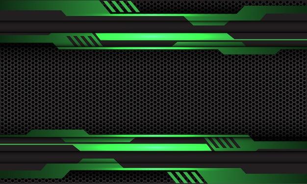 Groene metalen circuit donkergrijze zeshoek mesh futuristische technische achtergrond.
