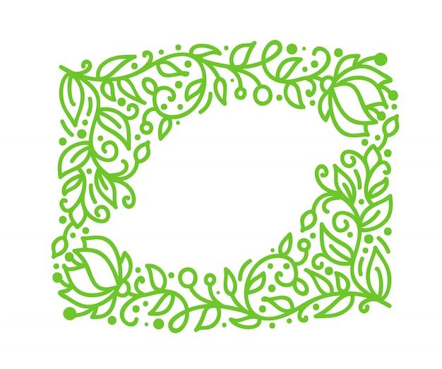 Groene monoline kalligrafie bloeien frame voor wenskaart