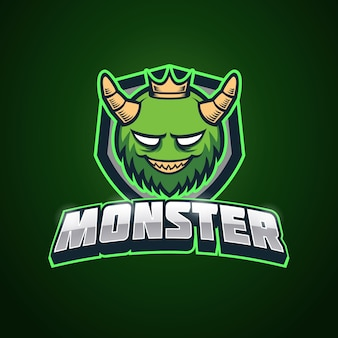 Groene monster esport logo sjabloon
