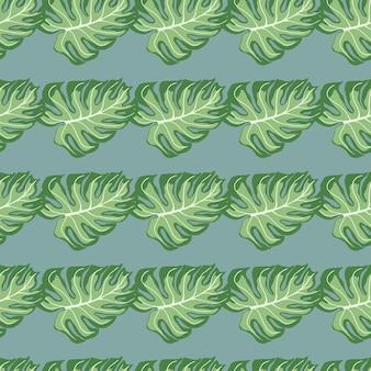 Groene monstera palmbladeren naadloze doodle patroon. lichtblauwe achtergrond. tropisch groen kunstwerk.