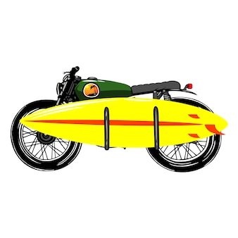 Groene motorfiets surf vector