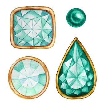 Groene munt kristal in een gouden frame en sieradenkralen. hand getekend aquarel diamant.