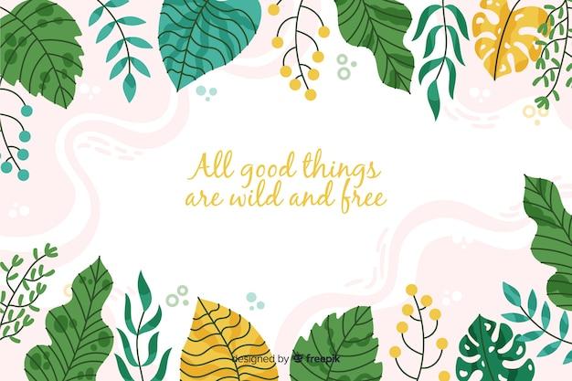 Groene natuur achtergrond met citaat