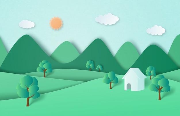 Groene natuur bos en berglandschap met cottage in papier gesneden stijl.