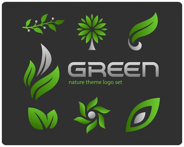 Groene natuur thema logo set