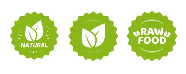 Groene natuurlijke en rauwe voeding voedingsetiket met bladeren sticker pictogram voor biologische boerderij product badge stempel