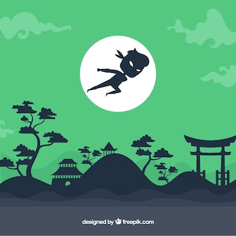 Groene ninja krijger achtergrond