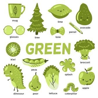 Groene objecten en woordenschatwoorden