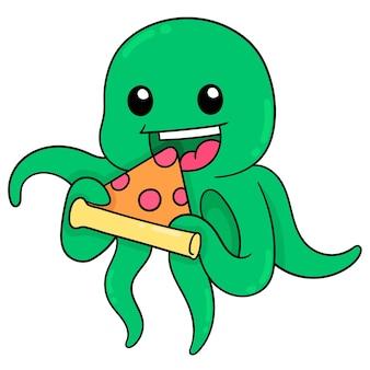 Groene octopus die heerlijke pizzaplakken eet, vectorillustratieart. doodle pictogram afbeelding kawaii.