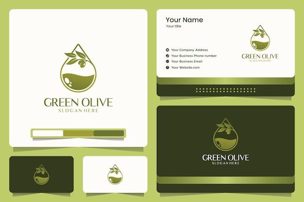 Groene olijf logo-ontwerp en visitekaartje