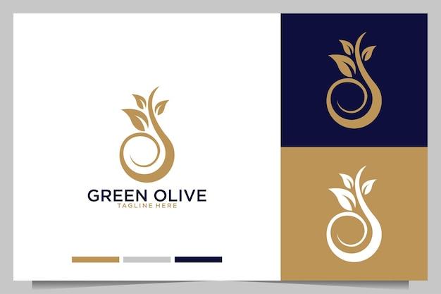 Groene olijf met bladlogo-ontwerp