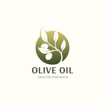 Groene olijfolie cirkel logo ontwerp