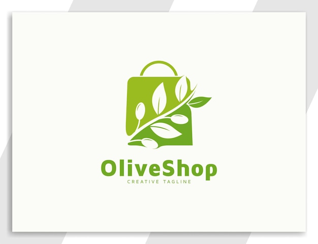 Groene olijfolie winkel logo met bladeren en boodschappentas illustratie