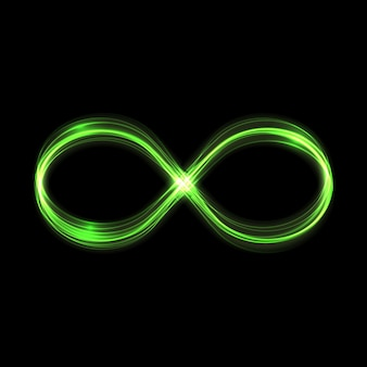 Groene oneindige gloed lichteffect sterren barsten van de glitters isol