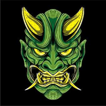 Groene oni masker japanse cultuur