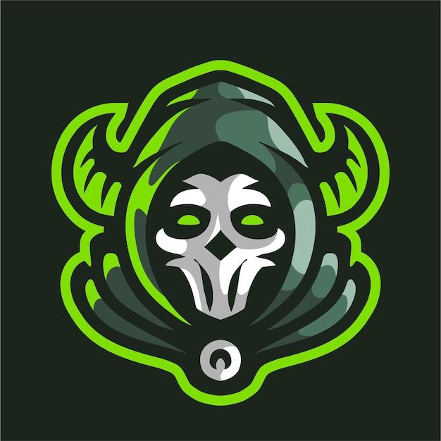 Groene onverbiddelijke reaper met hoornmascotte gaming-logo