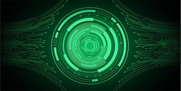 Groene oog cyber circuit toekomstige technologie achtergrond