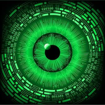 Groene oog cyber circuit toekomstige technologie concept achtergrond