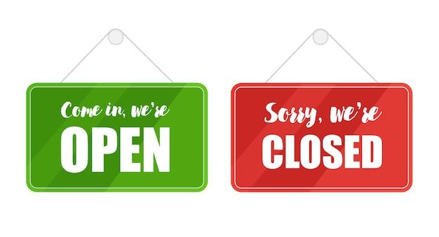 Groene open en rode gesloten tekens voor geïsoleerde deur