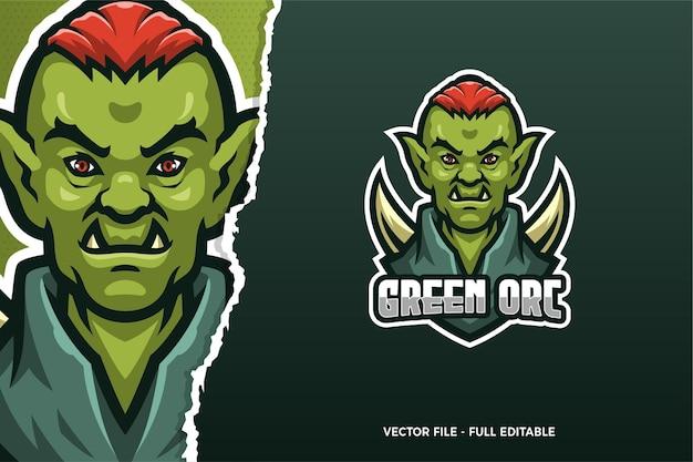 Groene orc e-sport game logo sjabloon
