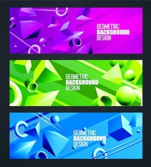 Groene, paarse, blauwe achtergrond instellen met volumetrische 3d-figuren driehoek en vierkant