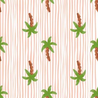 Groene palmboom elementen naadloze patroon in doodle stijl. gestreepte witte en roze achtergrond. krabbel sieraad. ontworpen voor stofontwerp, textielprint, verpakking, omslag. vector illustratie.