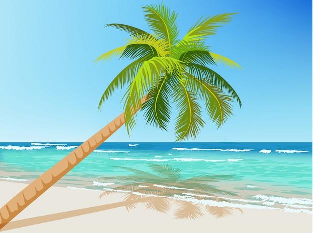 Groene palmboom groeit boven de blauwe zee. golven op water