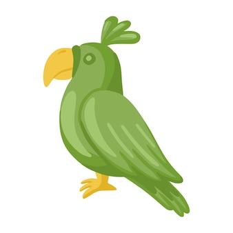Groene papegaai geïsoleerd op een witte achtergrond.