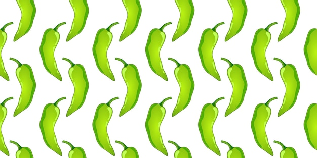 Groene paprika vector naadloze patroon. mexicaanse chili pittige groente. hete paprika textuur.