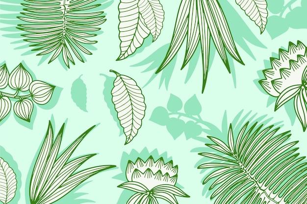 Groene pastel lineaire tropische bladeren achtergrond