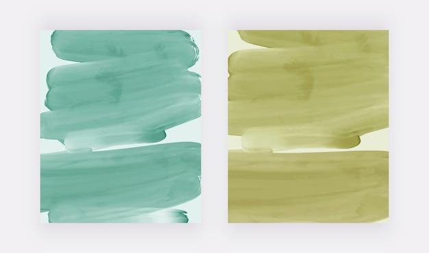 Groene penseelstreek aquarel