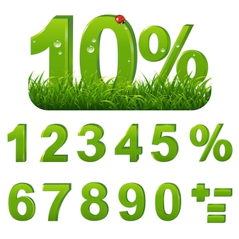 Groene percents set met gras met verloopnet, illustratie